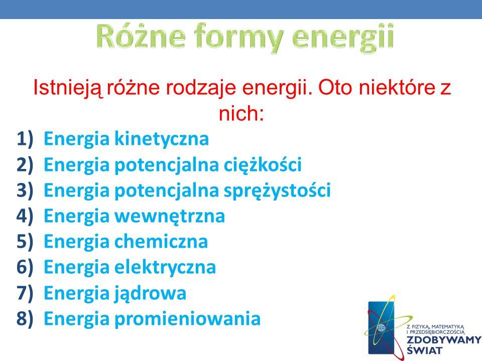 Istnieją różne rodzaje energii. Oto niektóre z nich: