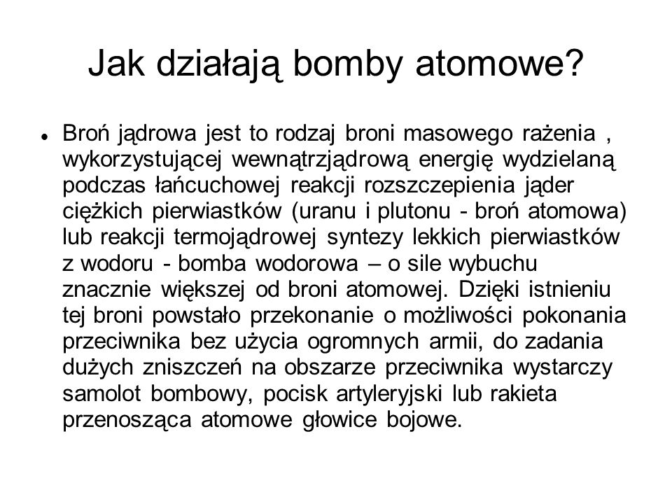 Jak działają bomby atomowe