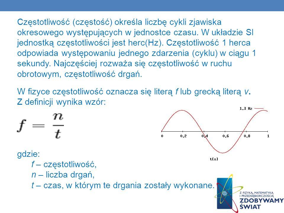 Częstotliwość (częstość) określa liczbę cykli zjawiska okresowego występujących w jednostce czasu.