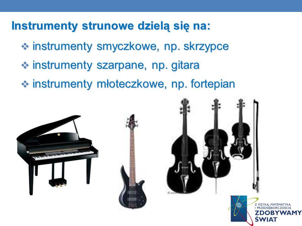 Instrumenty strunowe dzielą się na: