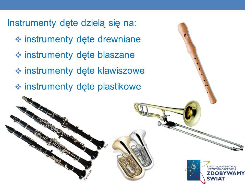 Instrumenty dęte dzielą się na: