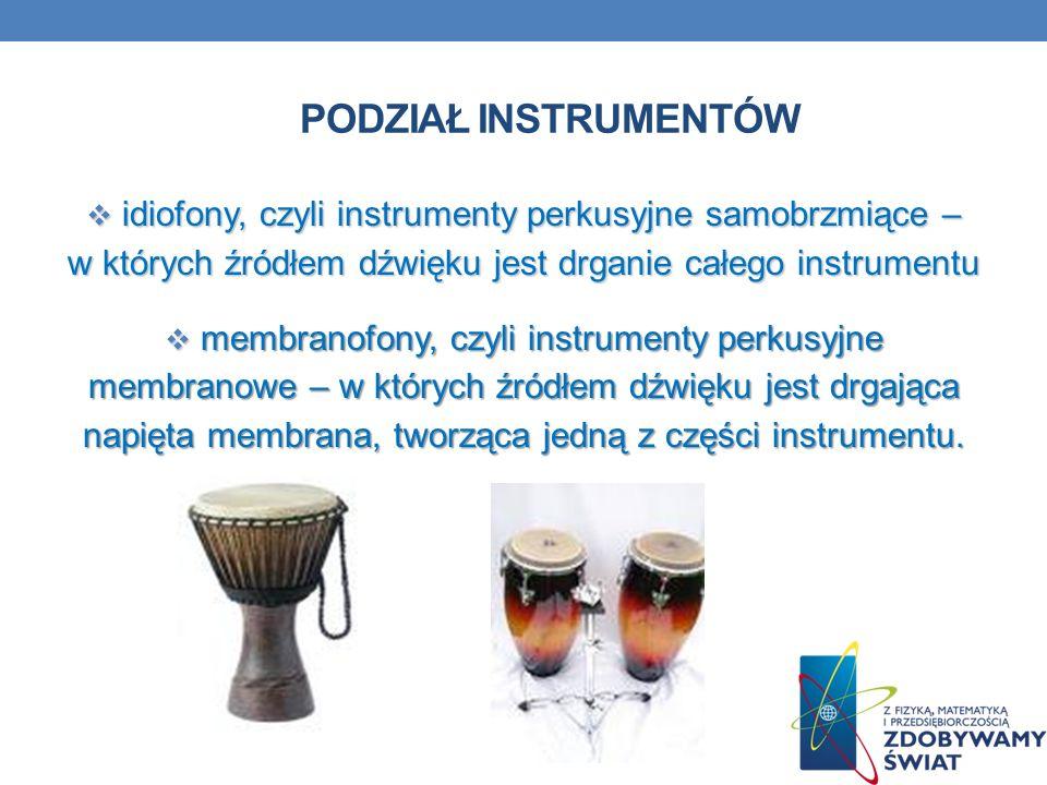 Podział instrumentów idiofony, czyli instrumenty perkusyjne samobrzmiące – w których źródłem dźwięku jest drganie całego instrumentu.