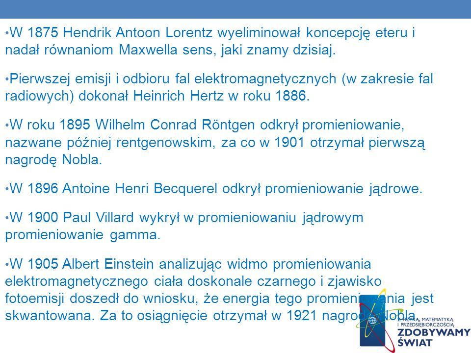 W 1875 Hendrik Antoon Lorentz wyeliminował koncepcję eteru i nadał równaniom Maxwella sens, jaki znamy dzisiaj.