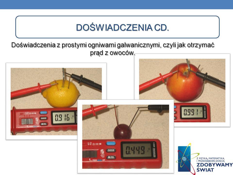 Doświadczenia cd.Doświadczenia z prostymi ogniwami galwanicznymi, czyli jak otrzymać prąd z owoców.