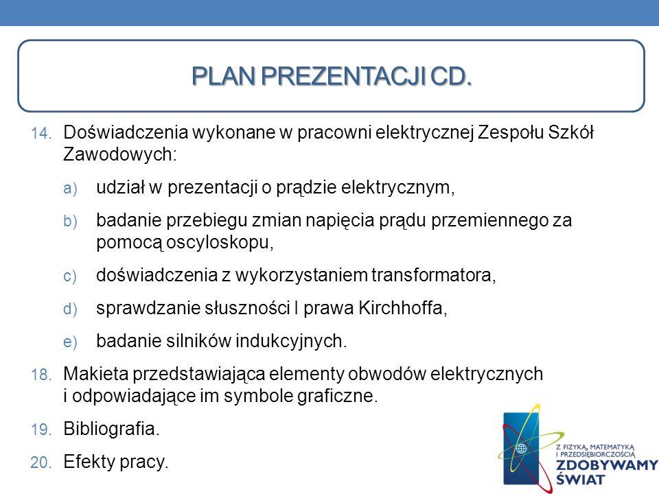 Plan prezentacji Cd.Doświadczenia wykonane w pracowni elektrycznej Zespołu Szkół Zawodowych: udział w prezentacji o prądzie elektrycznym,