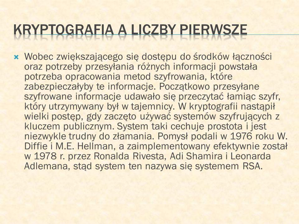 Kryptografia a liczby pierwsze