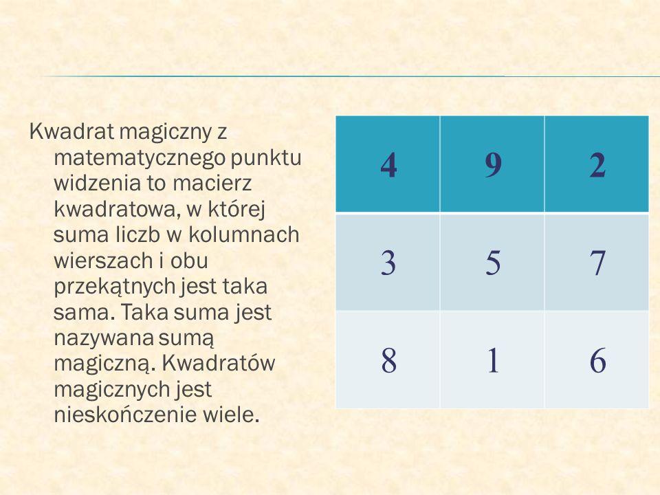 Kwadrat magiczny z matematycznego punktu widzenia to macierz kwadratowa, w której suma liczb w kolumnach wierszach i obu przekątnych jest taka sama. Taka suma jest nazywana sumą magiczną. Kwadratów magicznych jest nieskończenie wiele.