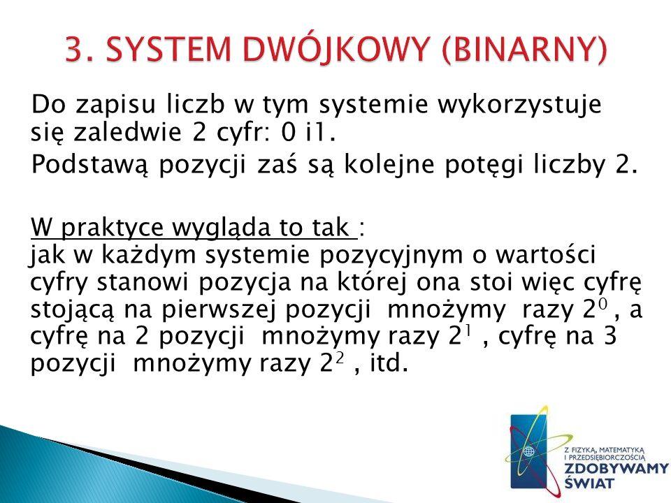 3. SYSTEM DWÓJKOWY (BINARNY)