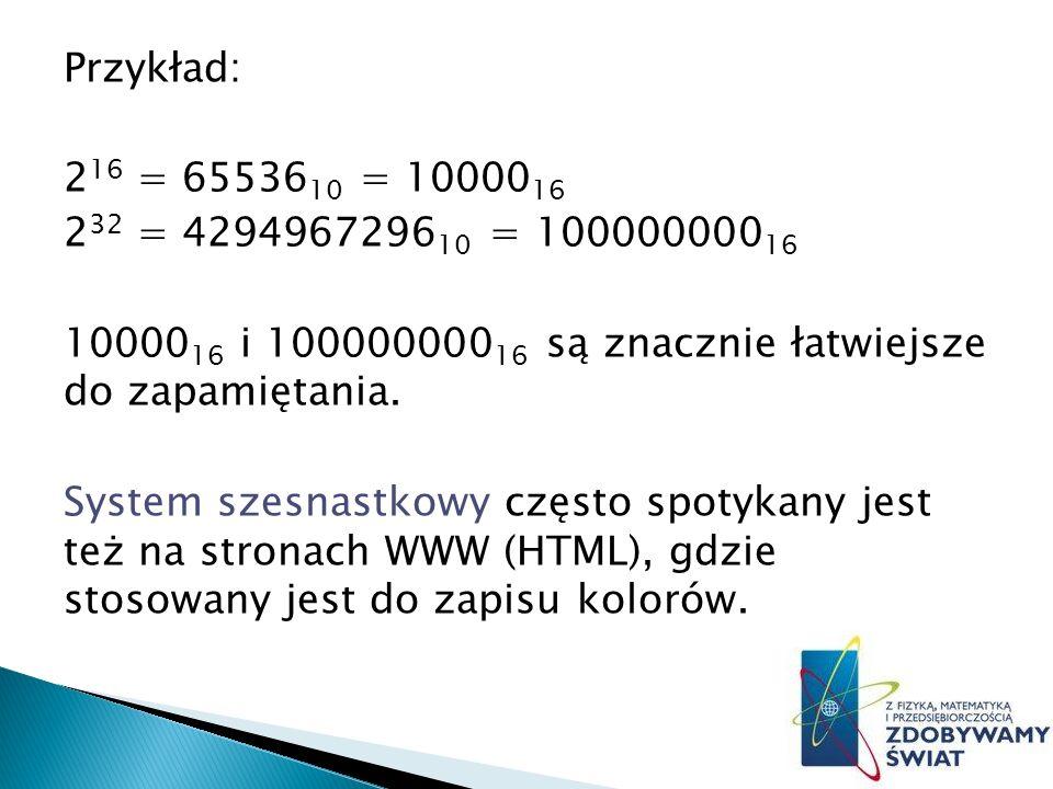 Przykład: 216 = 6553610 = 1000016 232 = 429496729610 = 10000000016 1000016 i 10000000016 są znacznie łatwiejsze do zapamiętania.