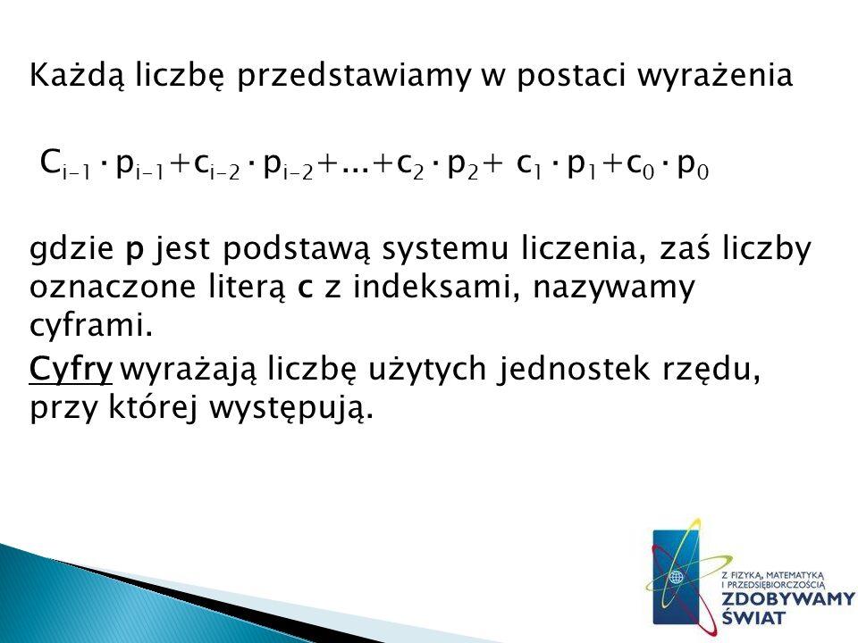 Każdą liczbę przedstawiamy w postaci wyrażenia Ci-1·pi-1+ci-2·pi-2+