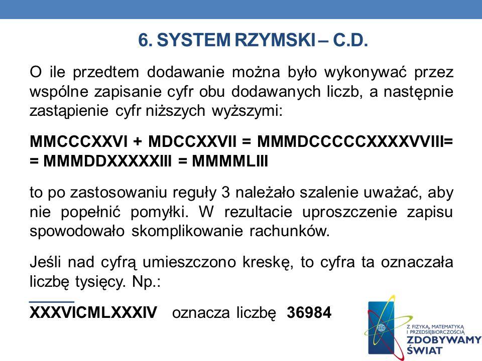 6. System rzymski – C.D.