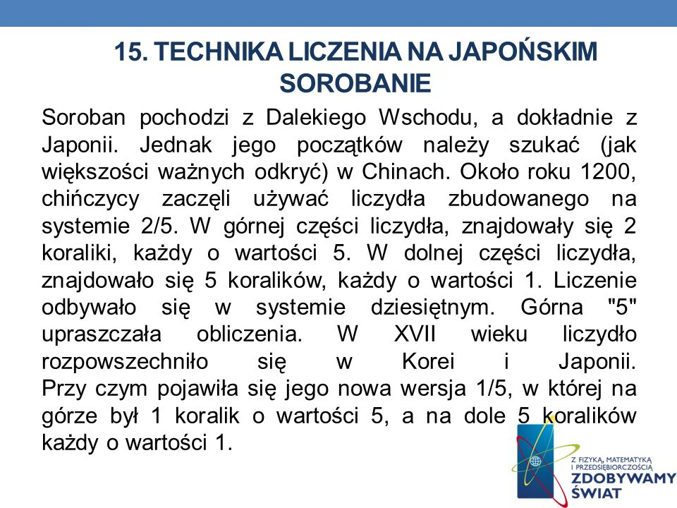 15. Technika liczenia na japońskim sorobanie