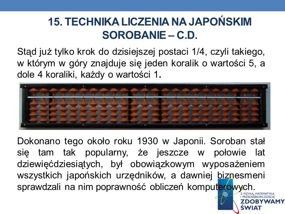 15. Technika liczenia na japońskim sorobanie – c.d.