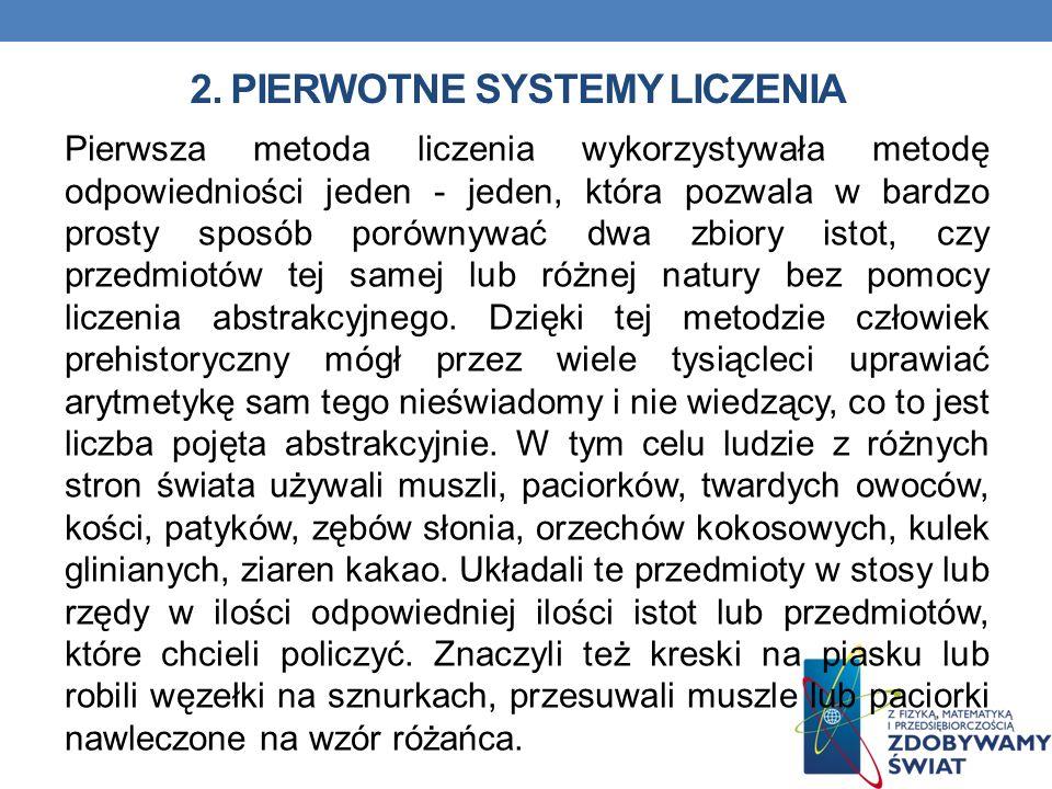 2. Pierwotne systemy liczenia