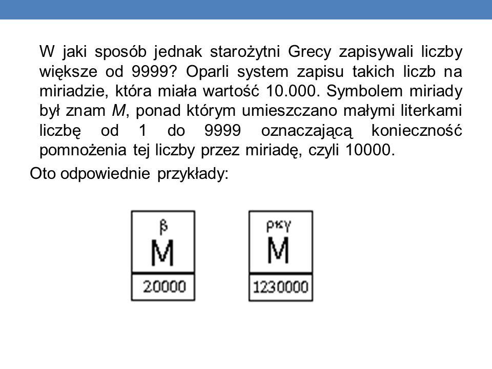 W jaki sposób jednak starożytni Grecy zapisywali liczby większe od 9999.