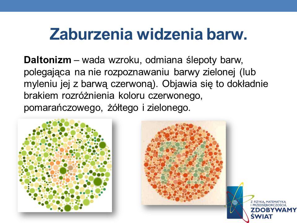 Zaburzenia widzenia barw.