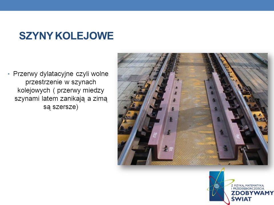 Szyny kolejowe Przerwy dylatacyjne czyli wolne przestrzenie w szynach kolejowych ( przerwy miedzy szynami latem zanikają a zimą są szersze)