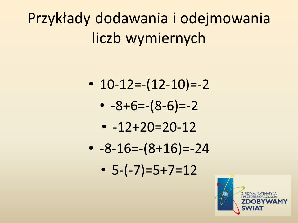 Przykłady dodawania i odejmowania liczb wymiernych
