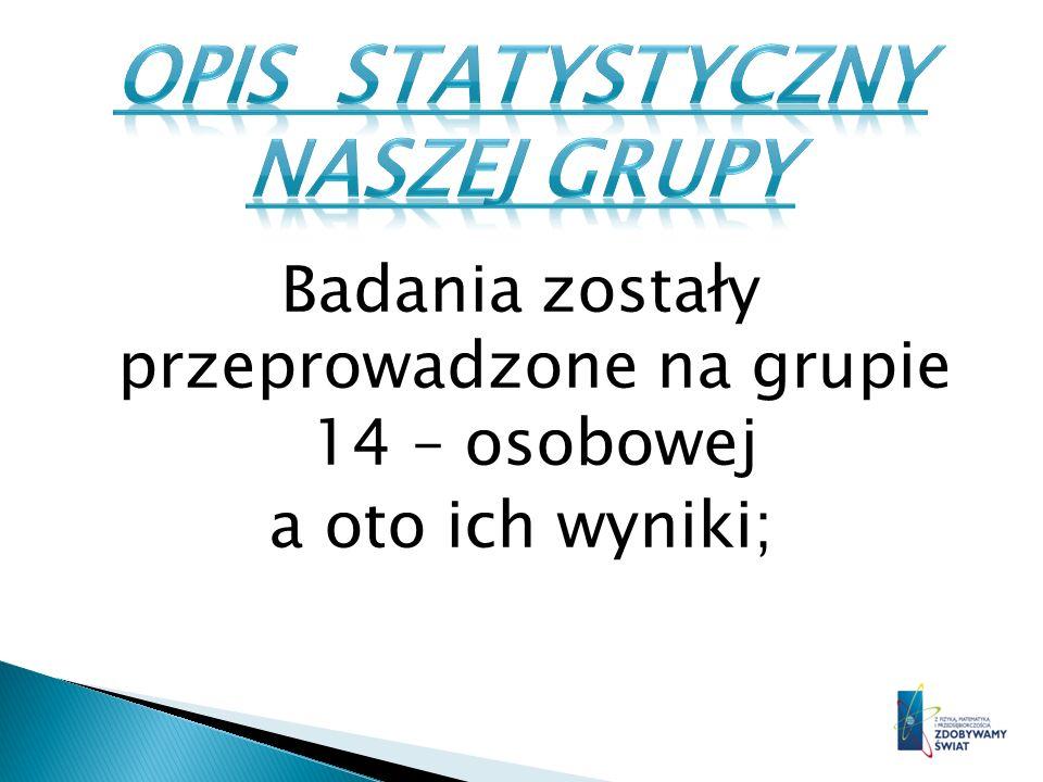 OPIS STATYSTYCZNY NASZEJ GRUPY