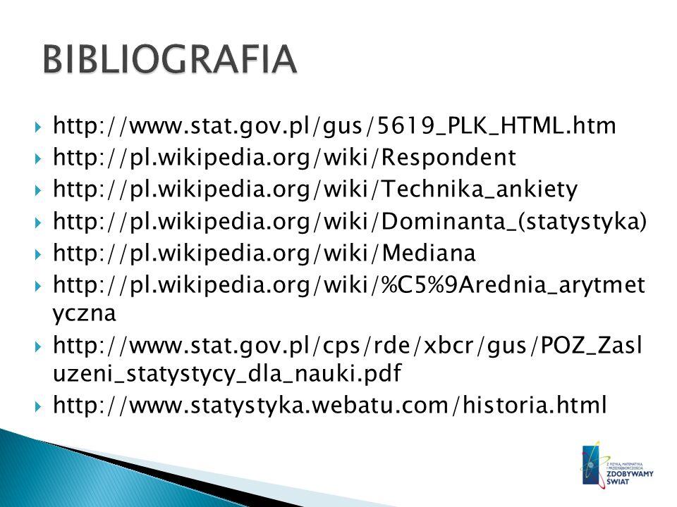BIBLIOGRAFIA http://www.stat.gov.pl/gus/5619_PLK_HTML.htm