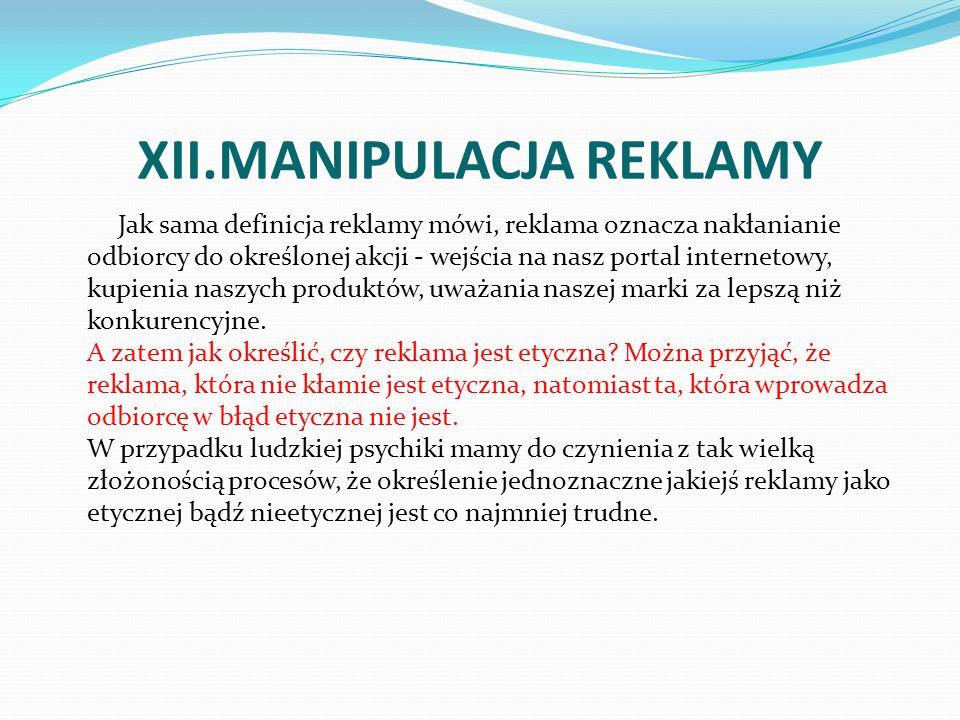 XII.MANIPULACJA REKLAMY
