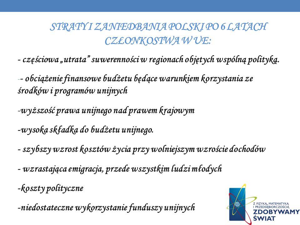 STRATY I ZANIEDBANIA POLSKI PO 6 LATACH CZŁONKOSTWA W UE: