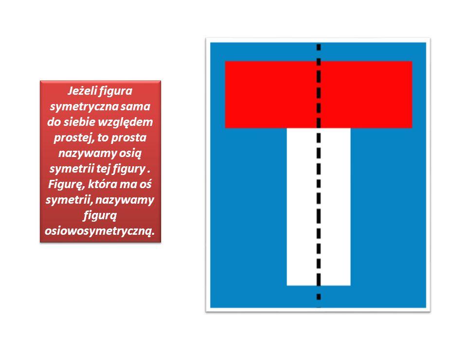 Jeżeli figura symetryczna sama do siebie względem prostej, to prosta nazywamy osią symetrii tej figury .