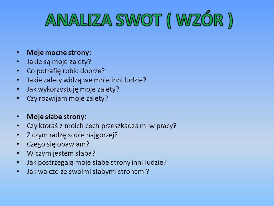 ANALIZA SWOT ( WZÓR ) Moje mocne strony: Jakie są moje zalety