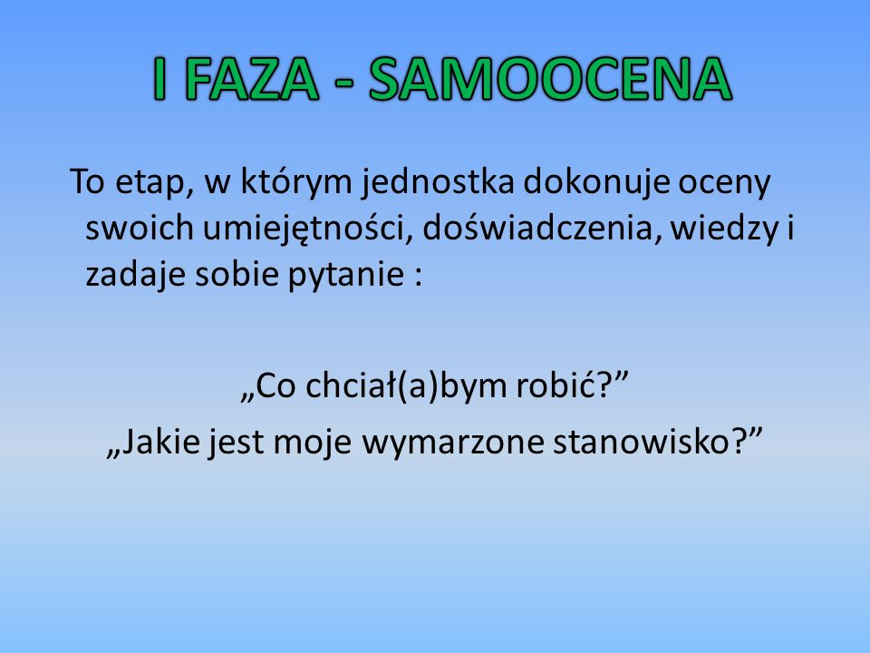 I FAZA - SAMOOCENA