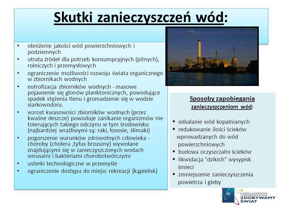Skutki zanieczyszczeń wód: