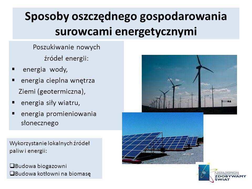 Sposoby oszczędnego gospodarowania surowcami energetycznymi
