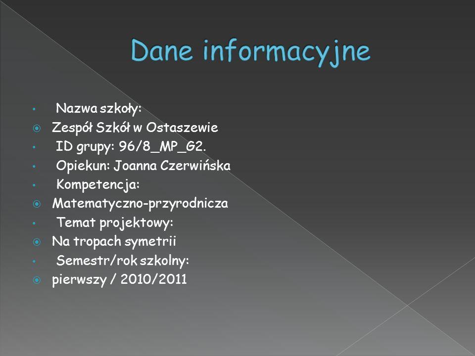 Dane informacyjne Nazwa szkoły: Zespół Szkół w Ostaszewie