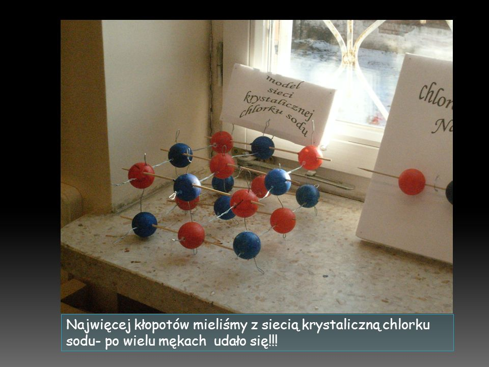 Najwięcej kłopotów mieliśmy z siecią krystaliczną chlorku sodu- po wielu mękach udało się!!!