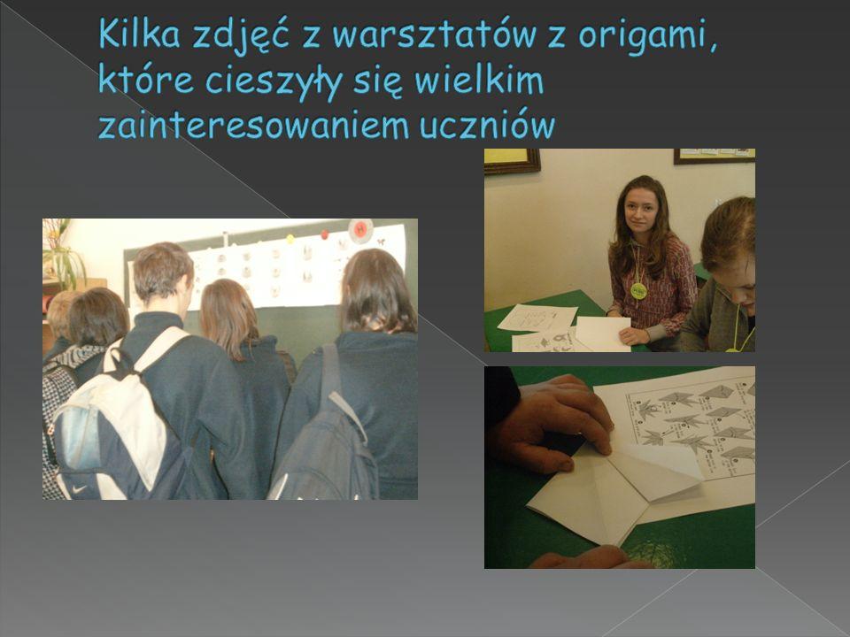 Kilka zdjęć z warsztatów z origami, które cieszyły się wielkim zainteresowaniem uczniów