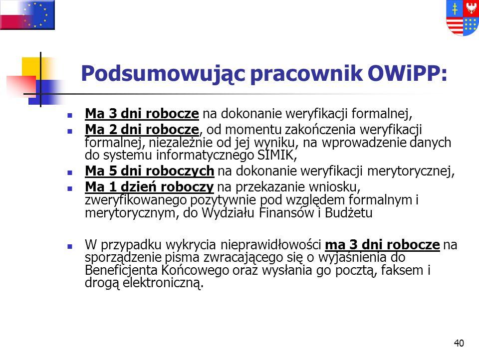 Podsumowując pracownik OWiPP:
