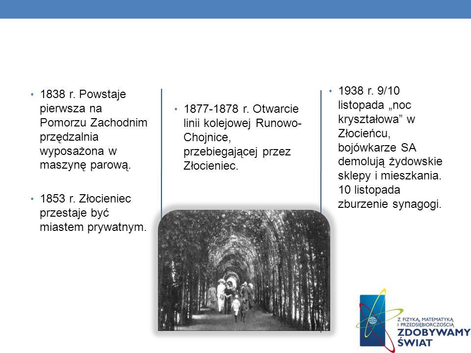 """1938 r. 9/10 listopada """"noc kryształowa w Złocieńcu, bojówkarze SA demolują żydowskie sklepy i mieszkania. 10 listopada zburzenie synagogi."""