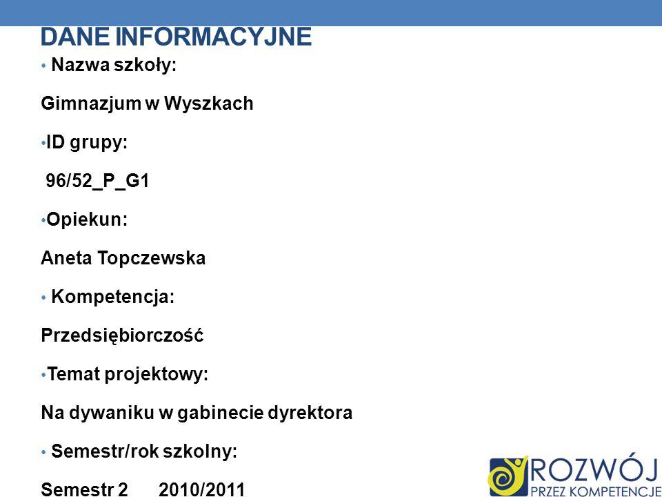 Dane INFORMACYJNE Nazwa szkoły: Gimnazjum w Wyszkach ID grupy: