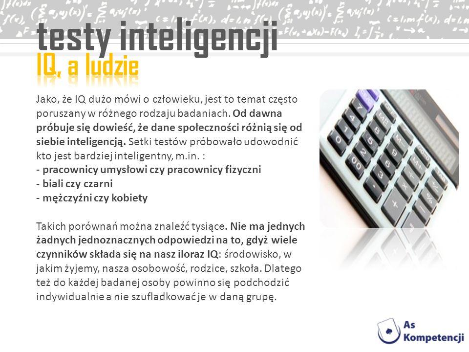 testy inteligencji IQ, a ludzie