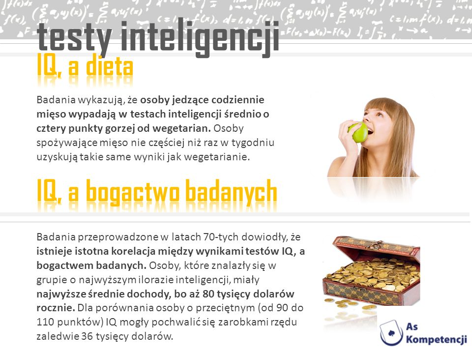 testy inteligencji IQ, a dieta IQ, a bogactwo badanych