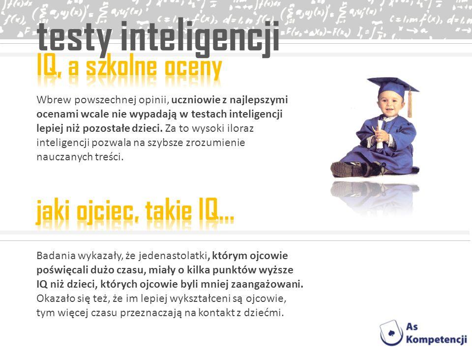 testy inteligencji IQ, a szkolne oceny jaki ojciec, takie IQ…