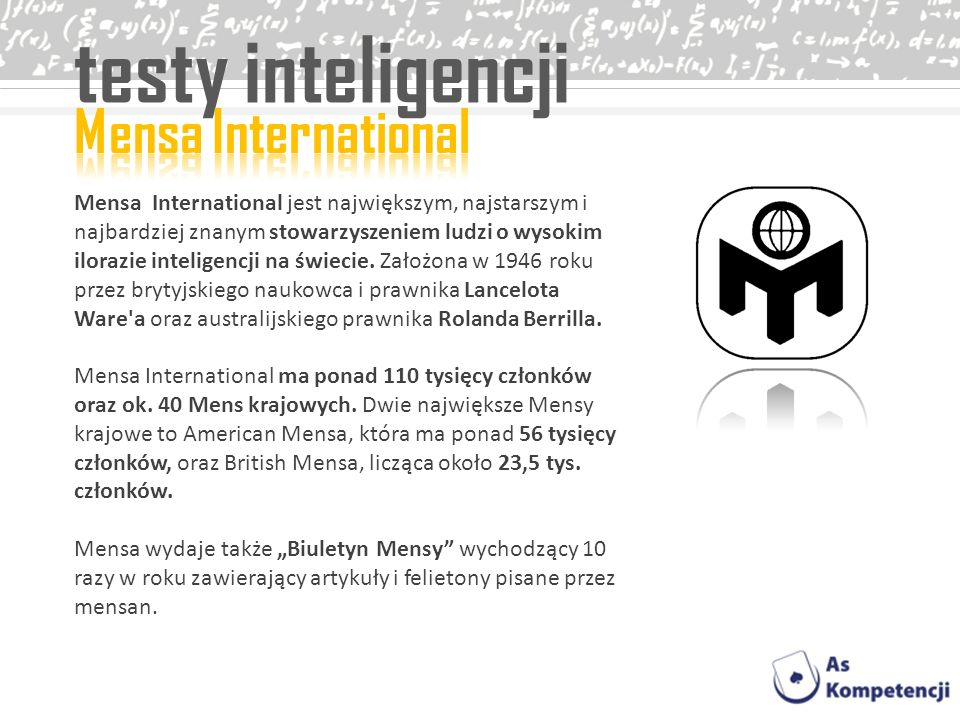 testy inteligencji Mensa International