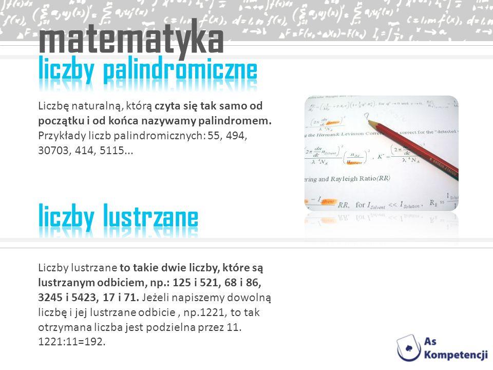 matematyka liczby palindromiczne liczby lustrzane