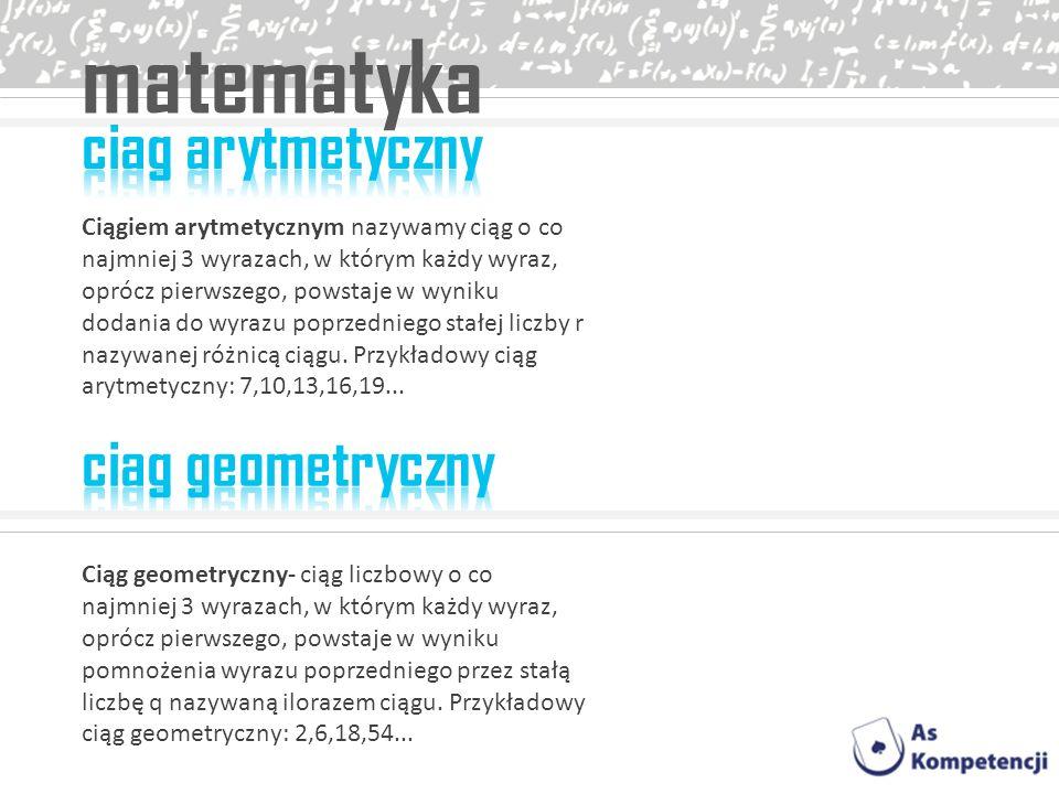 matematyka ciag arytmetyczny ciag geometryczny