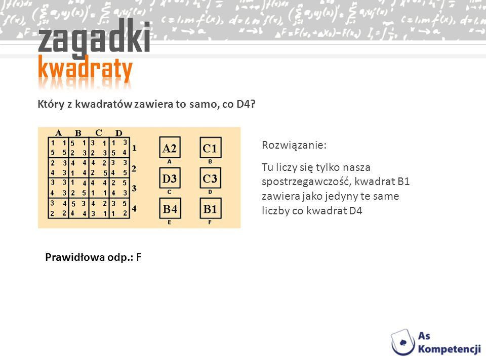 zagadki kwadraty Który z kwadratów zawiera to samo, co D4
