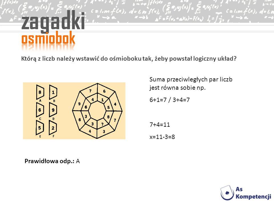 zagadki osmiobok. Którą z liczb należy wstawić do ośmioboku tak, żeby powstał logiczny układ Suma przeciwległych par liczb jest równa sobie np.