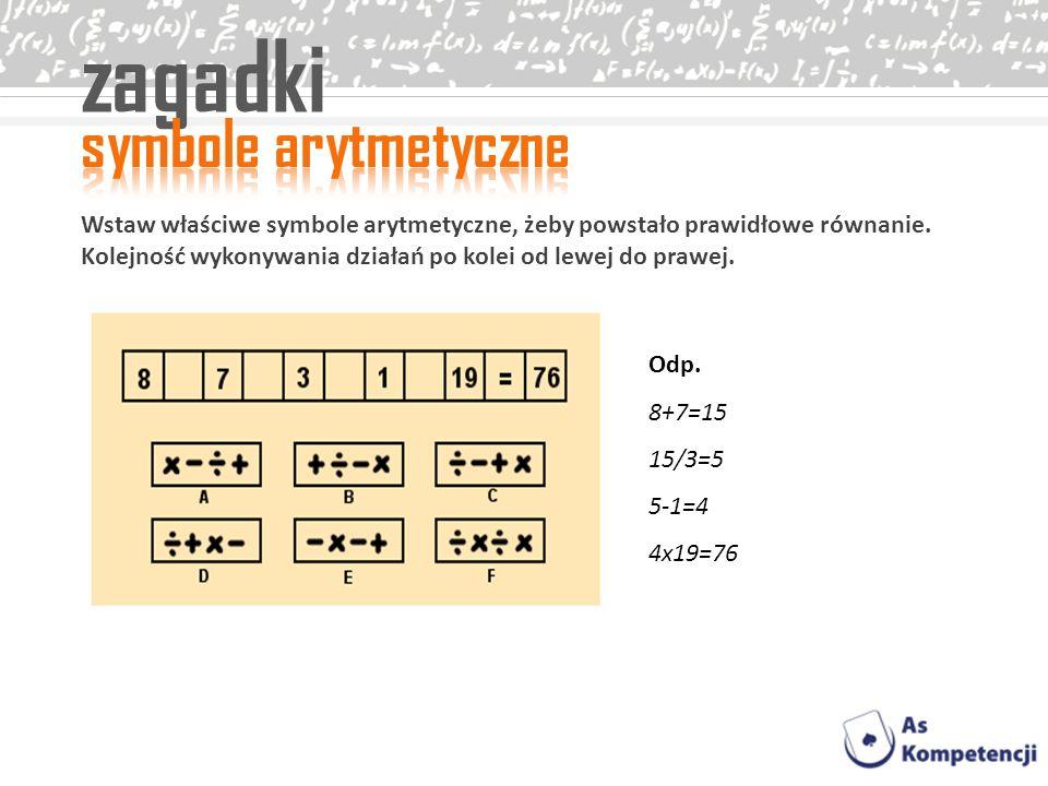 zagadki symbole arytmetyczne