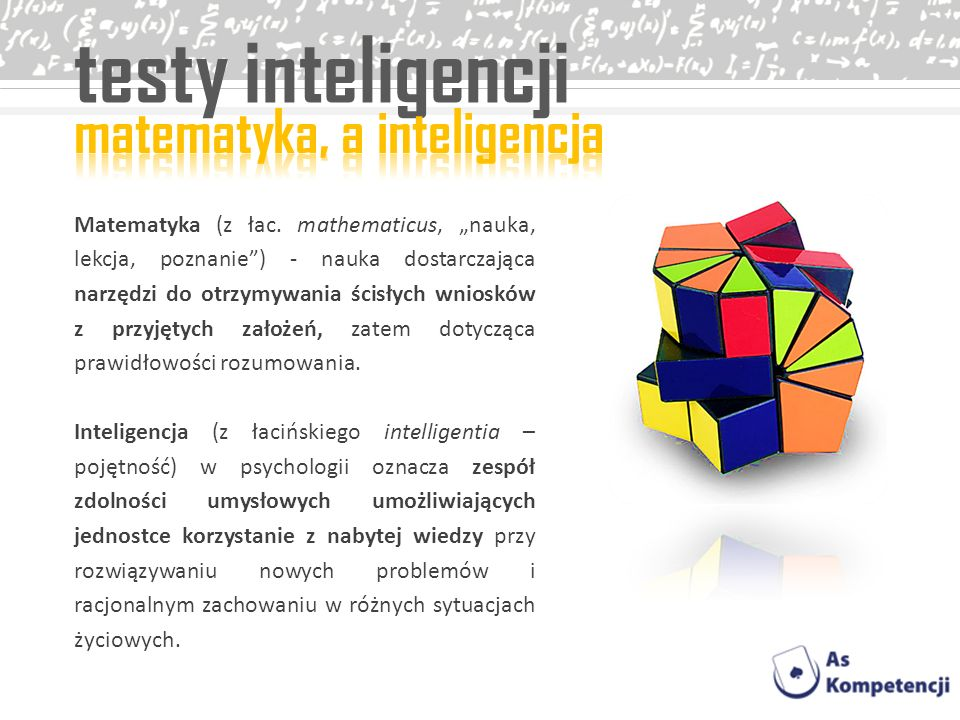 testy inteligencji matematyka, a inteligencja