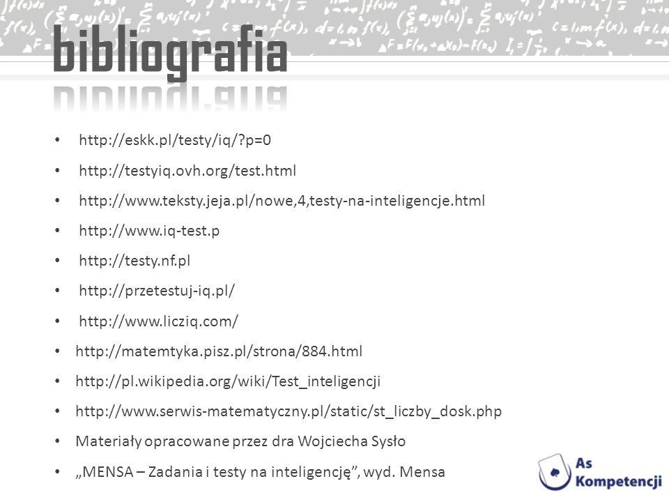 bibliografia http://eskk.pl/testy/iq/ p=0