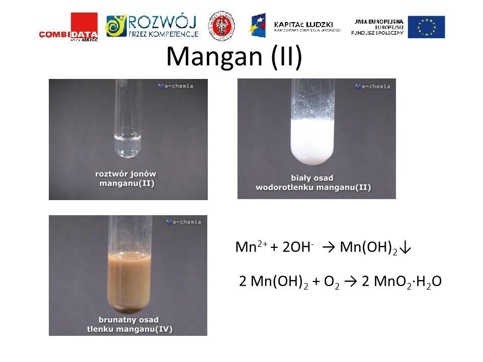 Mangan (II) Mn2+ + 2OH- → Mn(OH)2↓ 2 Mn(OH)2 + O2 → 2 MnO2·H2O
