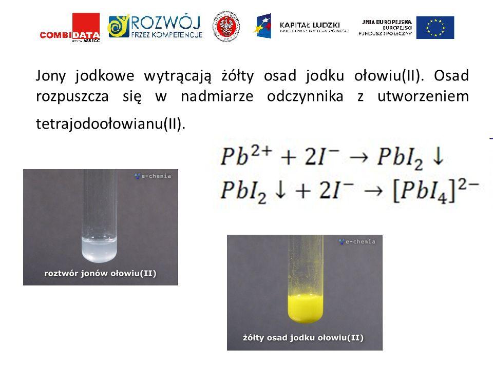 Jony jodkowe wytrącają żółty osad jodku ołowiu(II)